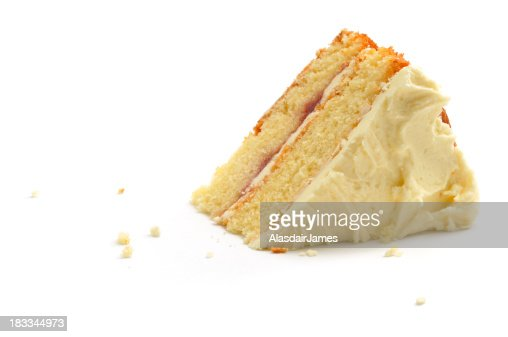 Triangular piece of cake over white background