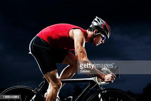 Triathlete training on cycle
