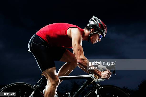 Triathlete training on cycle