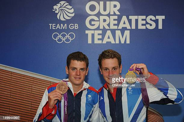 Triathlete's and Olympic Medalist's Jonathan Brownlee with his Bronze medal and Alistair Brownlee with his Gold medal of Great Britain visit TeamGB...