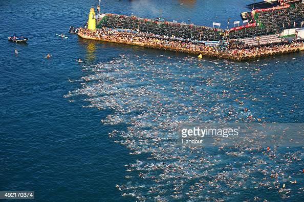 Triathletes compete in the 24mile/38km swim during the IRONMAN World Championship presented by GoPro on October 10th 2015 Kailua Kona Hawaii IRONMAN...