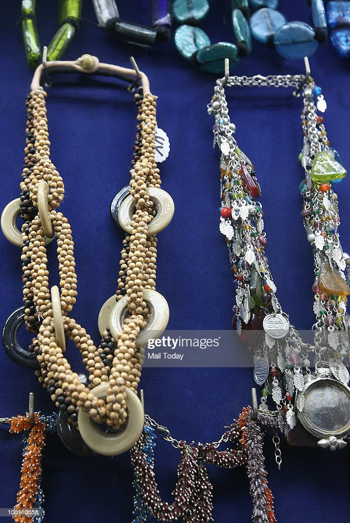Tribal and ethnic jewellery is displayed at shops at the Paharganj market in New Delhi on May 19, 2010.