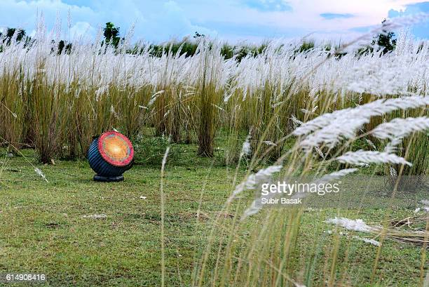 A tribal drum in a middle of grassland,Purulia,West Bengal,India.