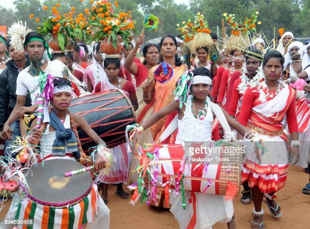 Tribal folk dancers during the 17th Foundation Day of Jharkhand state at Morhabadi ground on November 15 2017 in Ranchi India Every year the state...
