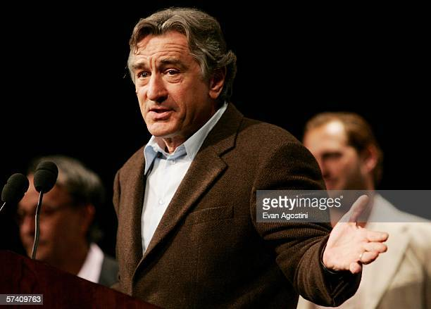 Tribeca Film Festival cofounder actor Robert De Niro answers questions from the press at the Fifth Annual Tribeca Film Festival opening press...