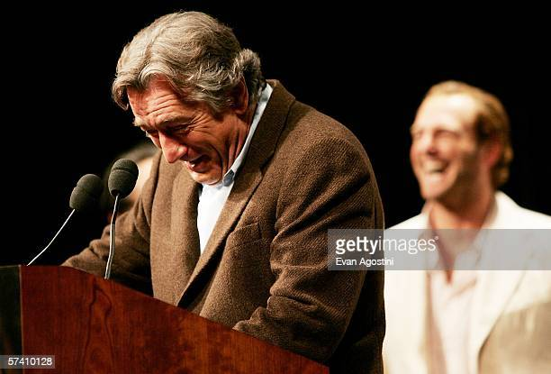 Tribeca Film Festival cofounder actor Robert De Niro speaks to the press at the Fifth Annual Tribeca Film Festival opening press conference at...