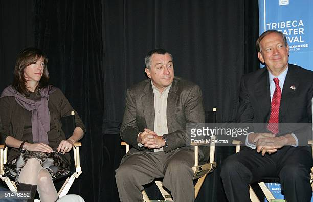 Tribeca Film Festival CoFounder Jane Rosenthal actor Robert De Niro and New York Governor George Pataki attend the press conference to announce the...