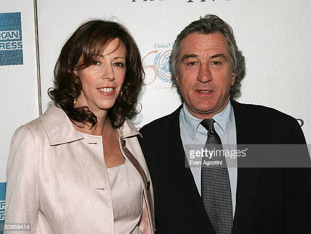 Tribeca Film Festival CoFounder Jane Rosenthal and actor Robert De Niro attend 'The Interpreter' premiere at the Ziegfeld Theatre April 19 2005 in...