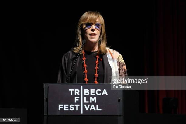 Tribeca Film Festival cofounder Jane Rosenthal speaks onstage during 'The Vietnam War' premiere at the 2017 Tribeca Film Festival at SVA Theater on...