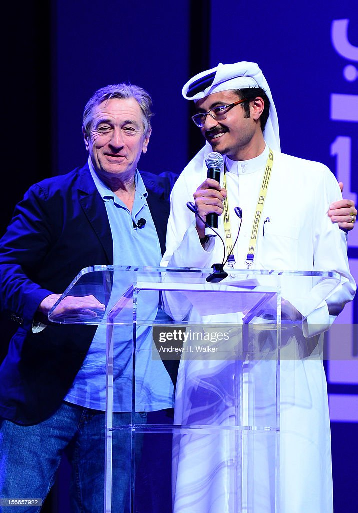 Tribeca Film Festival co-founder Robert De Niro and Doha Film Institute CEO Abdulaziz Bin Khalid Al-Khater speak at Doha Talks: In Conversation: Robert De Niro during the 2012 Doha Tribeca Film Festival at Al Mirqab Boutique Hotel on November 18, 2012 in Doha, Qatar.