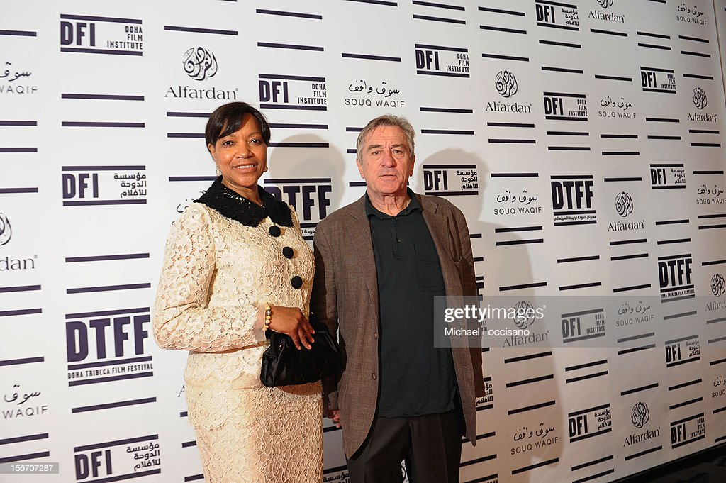 Tribeca Film Festival co-founder <a gi-track='captionPersonalityLinkClicked' href=/galleries/search?phrase=Robert+De+Niro&family=editorial&specificpeople=201673 ng-click='$event.stopPropagation()'>Robert De Niro</a> (R) and <a gi-track='captionPersonalityLinkClicked' href=/galleries/search?phrase=Grace+Hightower&family=editorial&specificpeople=211382 ng-click='$event.stopPropagation()'>Grace Hightower</a> attend the 'Silver Linings Playbook' premiere at the Al Mirqab Hotel during the 2012 Doha Tribeca Film Festival on November 19, 2012 in Doha, Qatar.