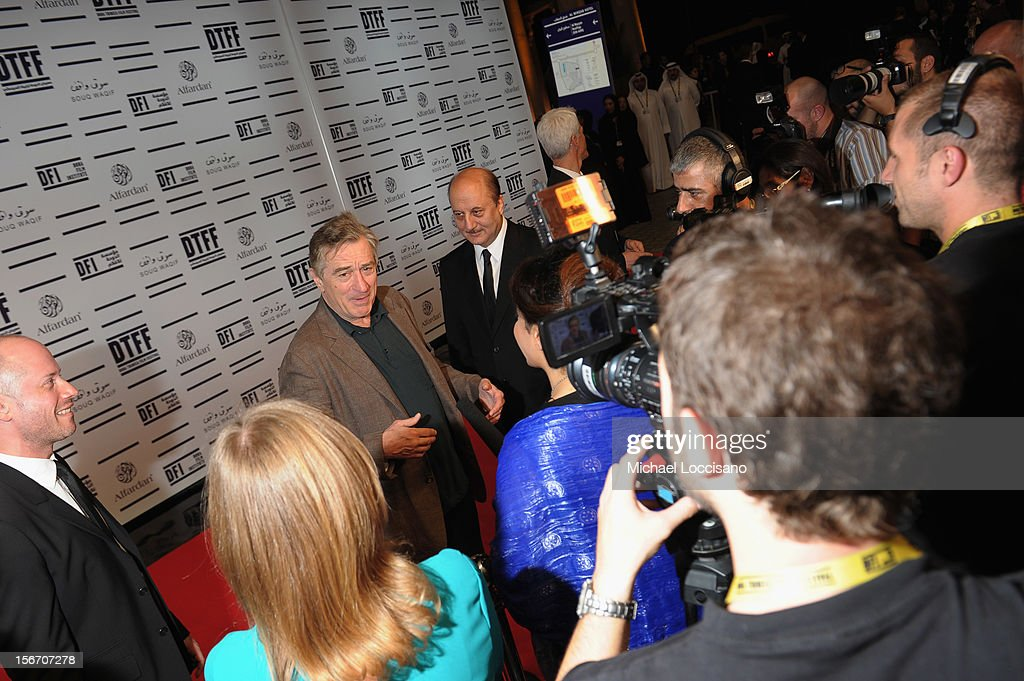 Tribeca Film Festival co-founder <a gi-track='captionPersonalityLinkClicked' href=/galleries/search?phrase=Robert+De+Niro&family=editorial&specificpeople=201673 ng-click='$event.stopPropagation()'>Robert De Niro</a> attends the 'Silver Linings Playbook' premiere at the Al Mirqab Hotel during the 2012 Doha Tribeca Film Festival on November 19, 2012 in Doha, Qatar.