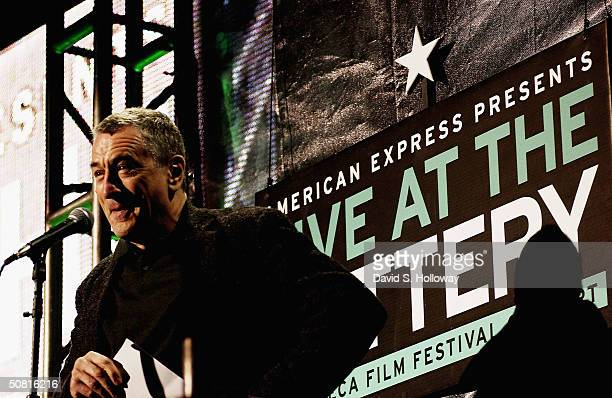 Tribeca Film Festival cofounder Robert De Niro speaks at the American Express 'Live At The Battery' Concert during the 2004 Tribeca Film Festival May...