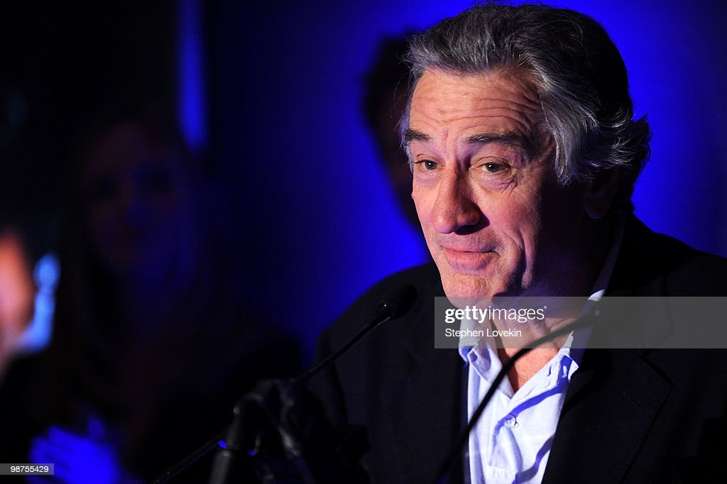 Tribeca Film Festival co-founder, <a gi-track='captionPersonalityLinkClicked' href=/galleries/search?phrase=Robert+De+Niro&family=editorial&specificpeople=201673 ng-click='$event.stopPropagation()'>Robert De Niro</a> speaks at the Awards Night Show & Party during the 2010 Tribeca Film Festival at the W New York - Union Square on April 29, 2010 in New York City.