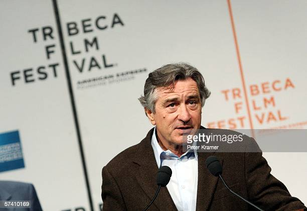 Tribeca Film Festival CoFounder Robert De Niro speaks at the opening press conference to kick off the 5th Annual Tribeca Film Festival at the Tribeca...