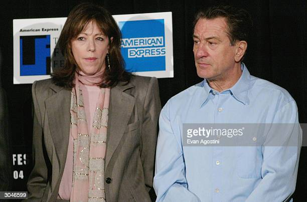 Tribeca Film Festival Cofounders Jane Rosenthal and actor Robert De Niro attend the 2004 Tribeca Film Festival kickoff media conference at Silver Cup...