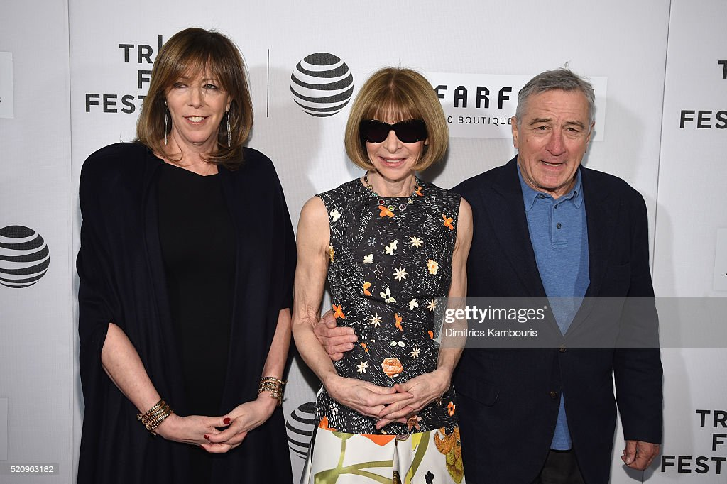 Tribeca Film Festival cofounders Jane Rosenthal and Robert De Niro pose with Anna Wintour Editorinchief of American Vogue attend the 'First Monday In...