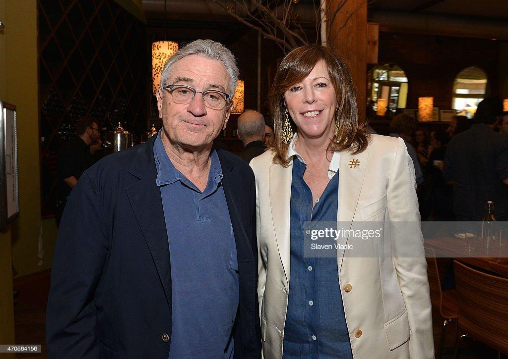 Tribeca Film Festival cofounders Robert De Niro and Jane Rosenthal attend Directors Brunch during the 2015 Tribeca Film Festival at City Winery on...