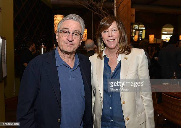 Tribeca Film Festival cofounders Robert De Niro and Jane Rosenthal attend Directors Brunch during the 2015 Tribeca Film Festival at City Winery on...