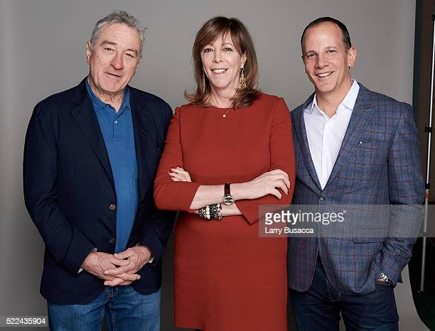 Tribeca Film Festival cofounders Robert De Niro and Jane Rosenthal and CEO of Tribeca Enterprises Andrew Essex pose for a portrait during the Juror...