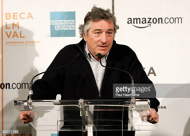 Tribeca Film Festival founder Robert De Niro speaks during the Tribeca Film Festival partnership press conference at Tribeca Cinemas March 3 2005 in...