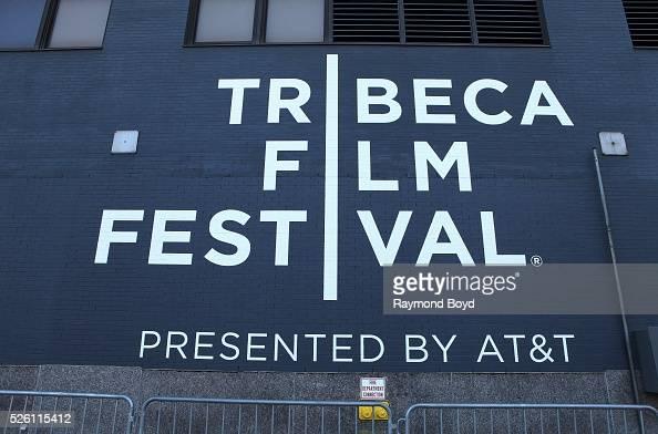 Tribeca Film Festival signage in Tribeca in New York New York on April 15 2016