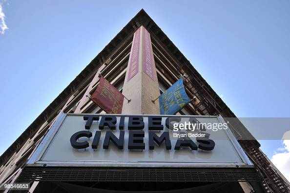 Tribeca Film Festival signage is displayed at Tribeca Cinemas on April 19 2010 in New York City
