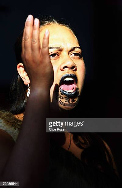 A tribes woman sings during the traditional Maori welcome ceremony for the England cricket team at the team hotel on January 28 2008 in Christchurch...