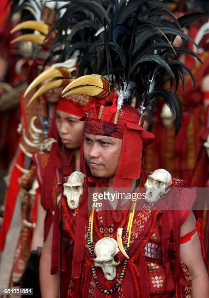 Tribesmen from Indonesia's Sulawesi island clad in traditional outfits sporting monkey skulls and hornbill headgear participate in a gathering for...