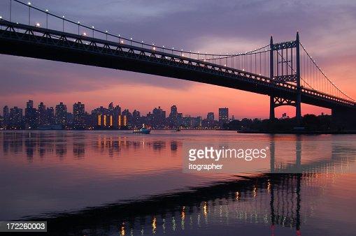 Triboro bridge silhouette at sunset