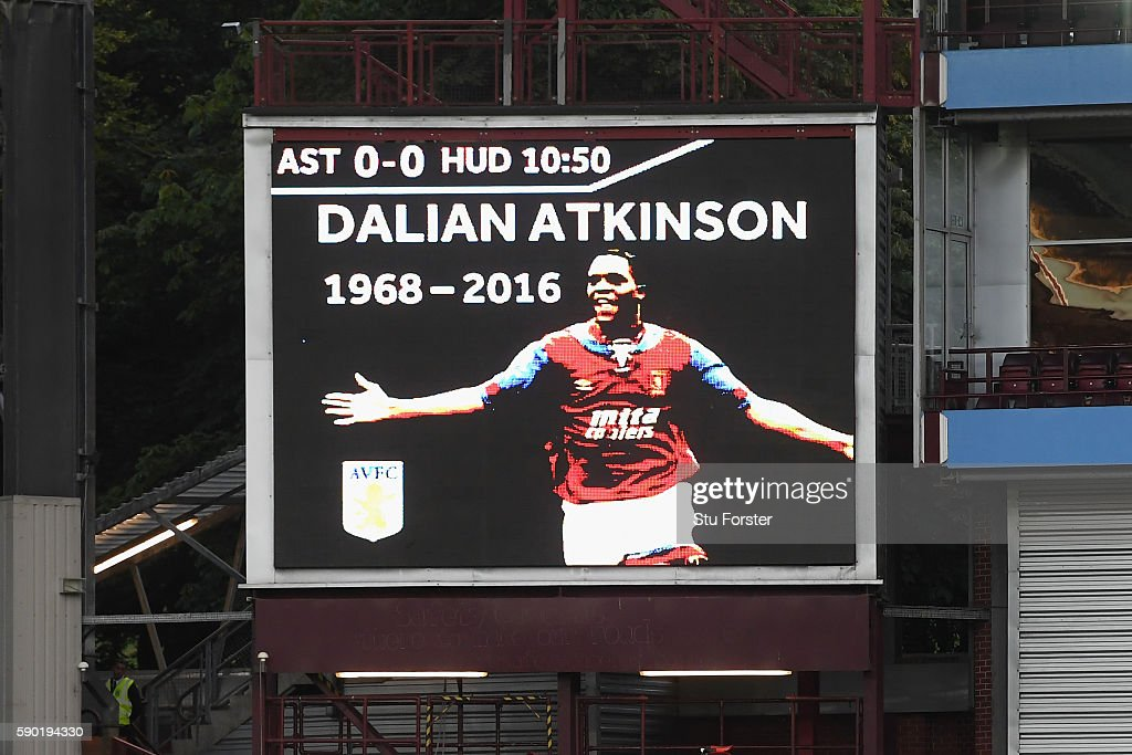A tribute for Dalian Atkinson is seen on the screen inside the stadium during the Sky Bet Championship match between Aston Villa and Huddersfield Town at Villa Park on August 16, 2016 in Birmingham, England.