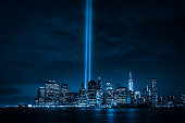"9/11 ""Tribute in Light"" memorial lit in September, 2015."