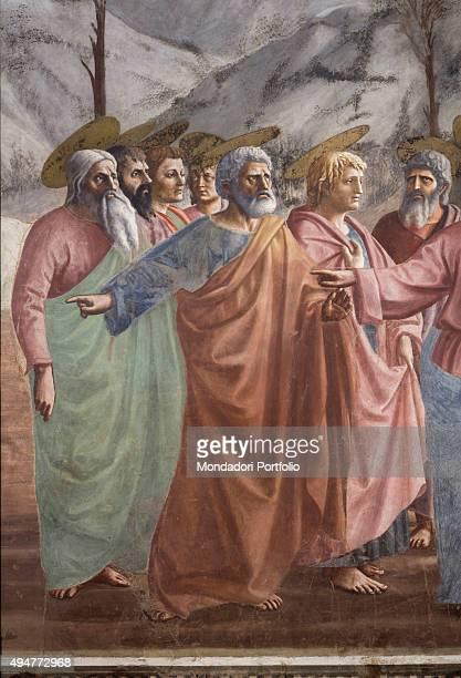 Tribute Money by Masaccio 14251427 15th Century fresco 255 x 598 cm Italy Tuscany Florence Church of Santa Maria del Carmine Brancacci Chapel Detail...