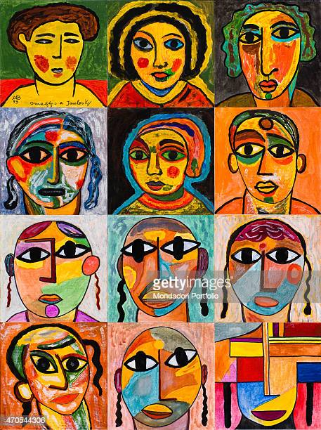 'Tribute to Jawlensky (Omaggio a Jawlensky), by Mario De Biasi, from the ''Faces'' series, 1999, 20th Century, drawing'