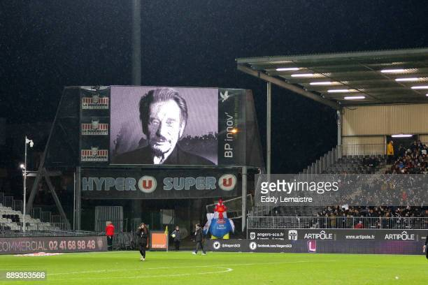 Tribute to Johnny Hallyday during the Ligue 1 match between Angers SCO and Montpellier Herault SC at Stade Raymond Kopa on December 9 2017 in Angers