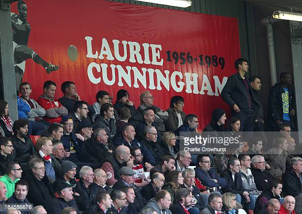 A tribute to Laurie Cunningham hangs up in the home end during the Sky Bet League One match between Leyton Orient and MK Dons at The Matchroom...