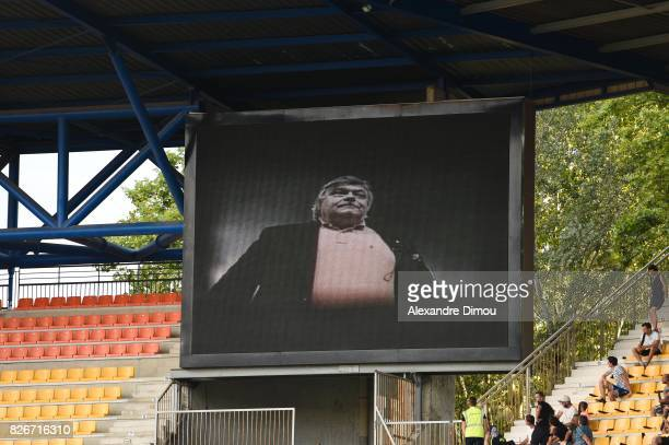 Tribute to Louis Nicollin during the Ligue 1 match between Montpellier Herault SC and SM Caen at Stade de la Mosson on August 5 2017 in Montpellier
