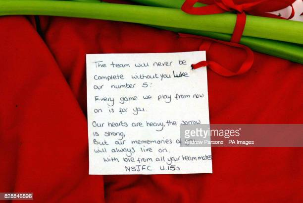A tribute to Luke Walmsley the 14yearold schoolboy who was murdered at Birkbeck School North Somercotes Lincolnshire on Tuesday is left lying on a...