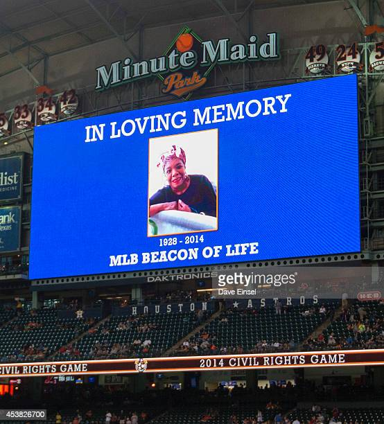 A tribute to Maya Angelou is displayed on the jumbotron before the Civil Rights Game game between the Baltimore Orioles and Houston Astros at Minute...