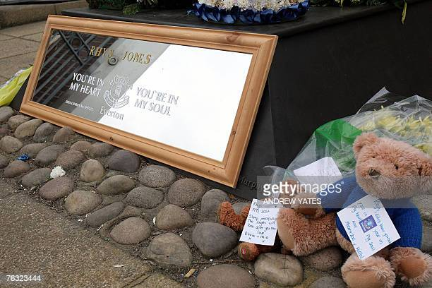 A tribute to murdered 11 yearold Rhys Jones sits outside Goodison Park the home of Everton football club in Liverpool in northwest England 25 August...