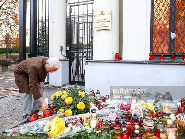 Tribute to passengers and crew members of Metrojet flight 7K9268 on November 2 2015 in front of the Russian embassy in Warsaw Poland Metrojet flight...