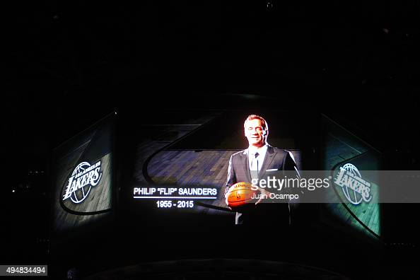 A tribute to Philip 'Flip' Saunders is displayed on the jumbotron before the Minnesota Timberwolves play against the Los Angeles Lakers on October 28...