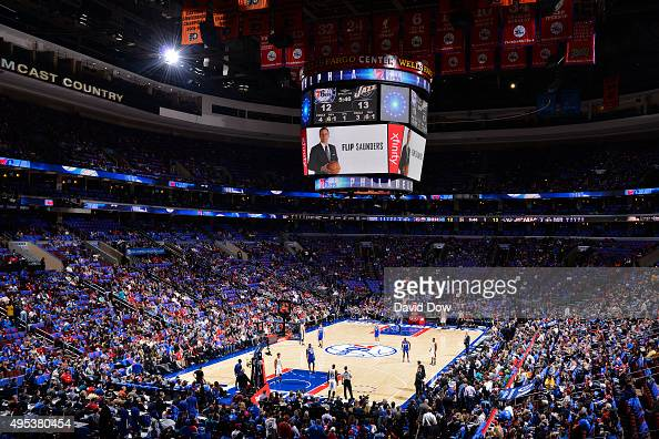 A tribute to Philip 'Flip' Saunders is displayed on the jumbotron before the Utah Jazz play against the Philadelphia 76ers at the Wells Fargo Center...