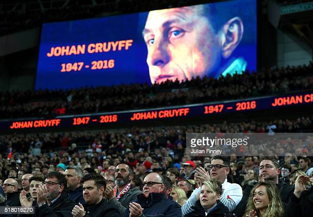 Tribute to remember Johan Cruyff of Netherlands on the big screen as fans show their appreciation during the International Friendly match between...