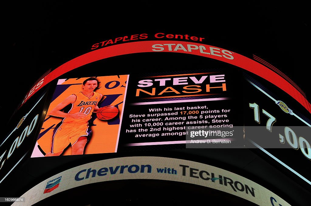A Tribute to <a gi-track='captionPersonalityLinkClicked' href=/galleries/search?phrase=Steve+Nash&family=editorial&specificpeople=201513 ng-click='$event.stopPropagation()'>Steve Nash</a> #10 of the Los Angeles Lakers against the Los Angeles Clippers at Staples Center on February 14, 2013 in Los Angeles, California.