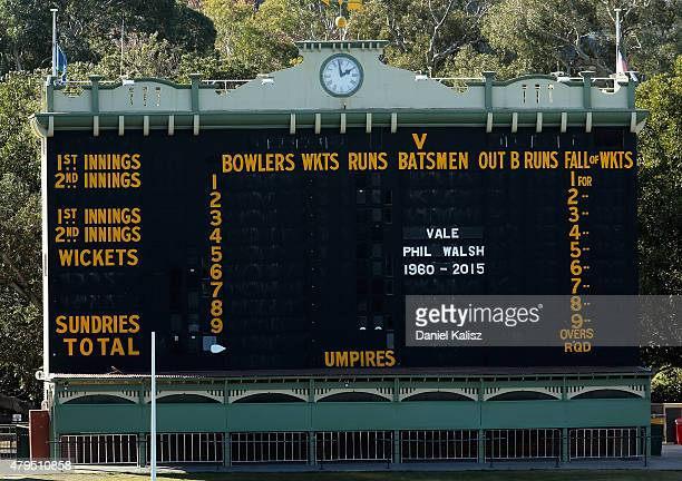 A tribute to the late Phil Walsh is seen on the scoreboard at Adelaide Oval on July 5 2015 in Adelaide Australia Adelaide Crows AFL coach Phil Walsh...