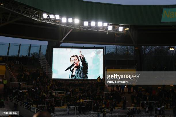 Tribute to the singer Johnny Hallyday in the stadium of Nantes during the Ligue 1 match between Nantes and OGC Nice at Stade de la Beaujoire on...