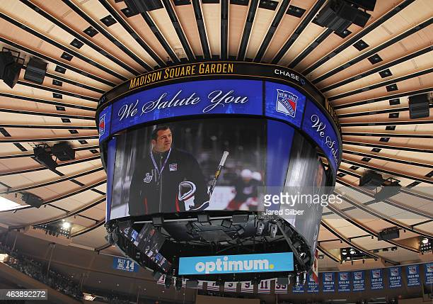 A tribute video is shown in the first period acknowledging 500 career wins for head coach Alain Vigneault of the New York Rangers during the game...