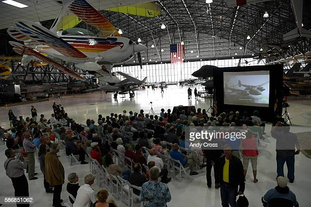 A tribute video shown for the Lest We Forget The Mission statue unveiling ceremony at the Wings over the Rockies Air and Space Museum August 06 2016...