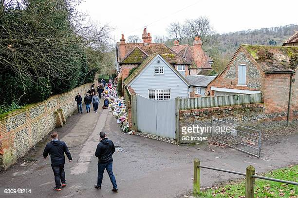 Tributes and flowers for music icon George Michael outside his Oxfordshire home on January 4 2017 in Goring England